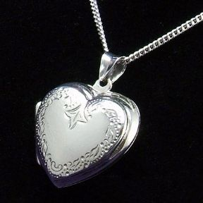 Silver Heart Locket with patterned front,  personalised engraved ref. SHPL1